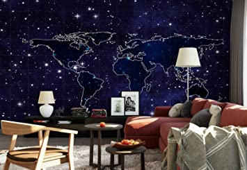 Photo wallpaper wall mural world map night sky background theme photo wallpaper wall mural world map night sky background theme stars space gumiabroncs Images