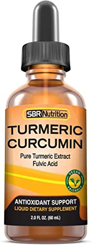 Max Absorption Liquid Turmeric Curcumin Drops for Joint Pain, Digestion, Anti-Inflammation Support Liposomal Organic Turmeric Root Extract with Fulvic Acid Vegan, Non-GMO, Made in USA