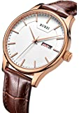 BUREI Men's Precise Quartz Wrist Watches with Day and Date Calendar Rose Gold Hands Brown Leather Strap