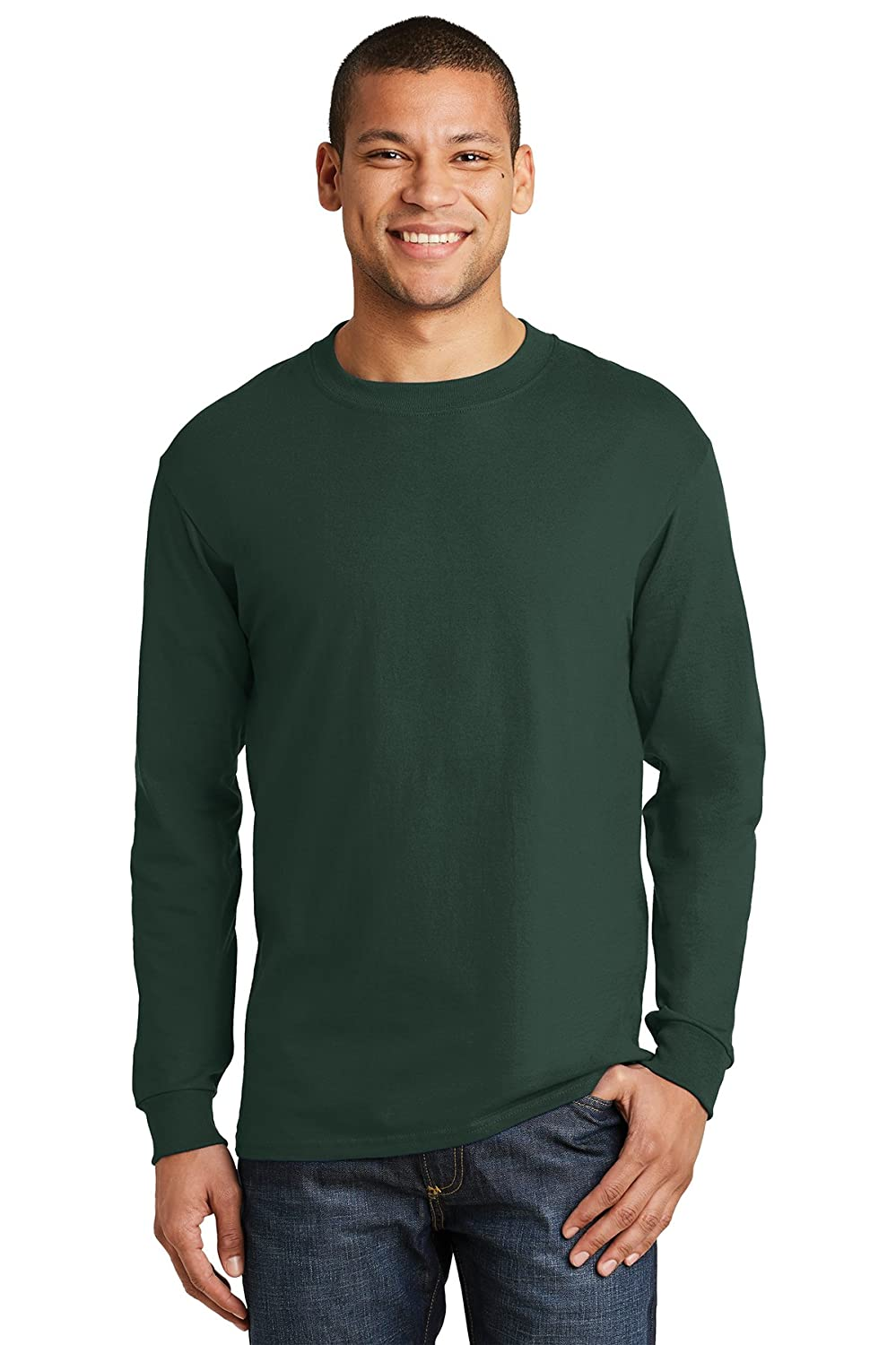 Deep Forest Logotastic UnisexAdult Rmk Hanes BeefyT  100% Cotton Long Sleeve TShirt  Ash  (CASE Pack of 36)