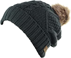 ANGELA   WILLIAM Women s Winter Fleece Lined Cable Knitted Pom Pom Beanie  Hat 95e38788a7a4