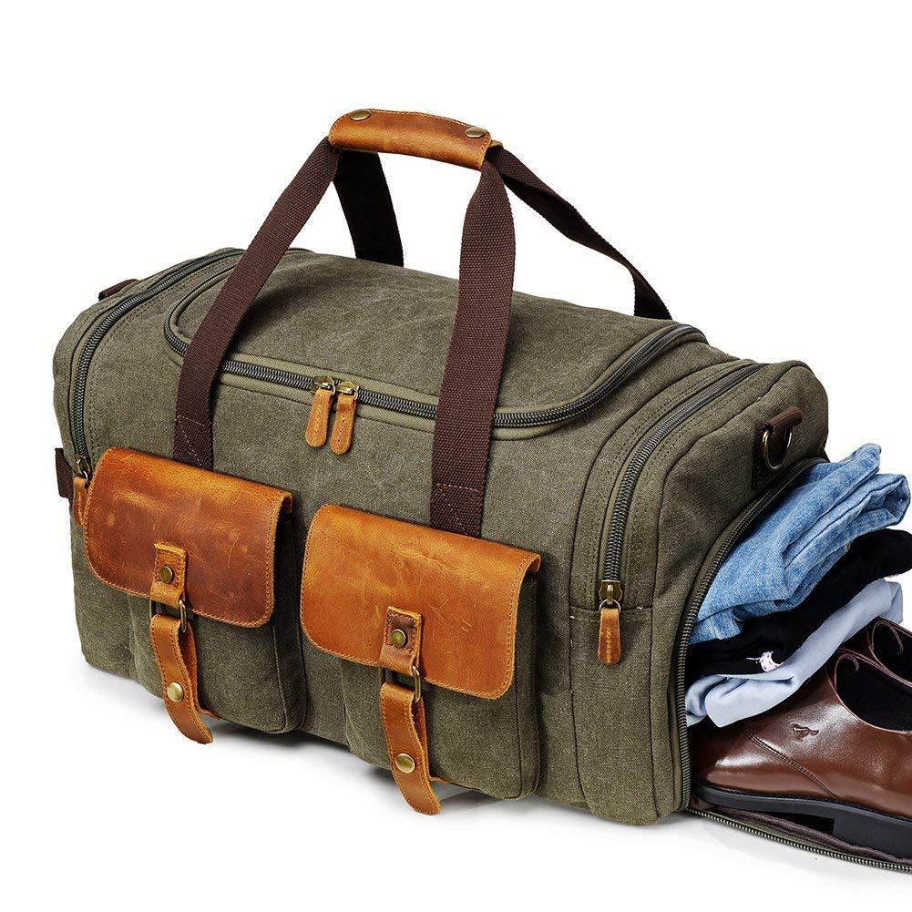 VOVIJ Canvas Bag, with Shoes Compartment & Wet Pocket,Travel Weekend Overnight Weekender Bags Vintage Carry On Tote for Men and Women(2pc) (Color : Green) by VOVIJ