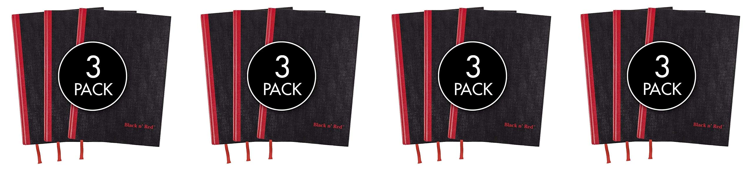 Black n' Red Casebound Hardcover Notebooks, 11-3/4'' x 8-1/4'', Black/Red, 96 Ruled Sheets, 3-Pack (73601) (Fоur Paсk) by Black n' Red (Image #1)