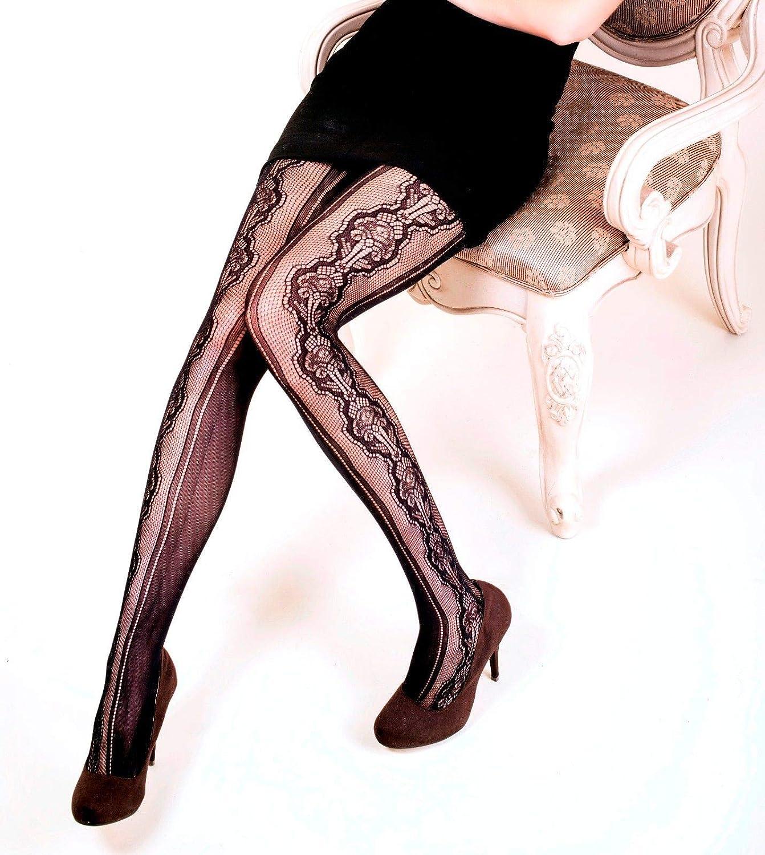 Yelete Killer Legs Womens Queen Plus Size Fishnet Pantyhose 168YD063Q, Black, Stenciled Bouquet