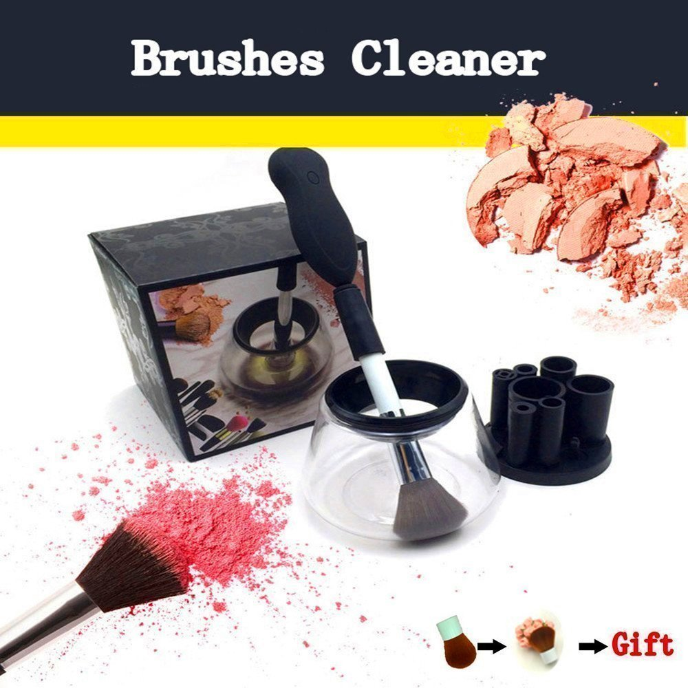 KTYRCLOM-Automatic Electric Makeup Brushes Cleaner All Size Deep Clean and Dry Makeup Brushes 360 Degree Rotation-Free one Foundation Brush(black) Meng shop