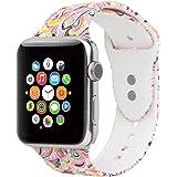 Misker Sport Band for Apple Watch 42MM 38MM, Floral Strap Men Women for Apple Watch Sport Series 3/2/1
