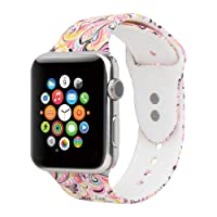 Floraler Sport Band for Apple Watch 42mm 38mm, Soft Silicone Strap Replacement Wristbands for Apple Watch Sport Series 3 Series 2 Series 1(42MM/38MM Floral)