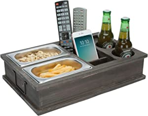 MyGift Vintage Gray Wood All-in-One Couch Snack Caddy with Remote Control, Phone and Cup Holders