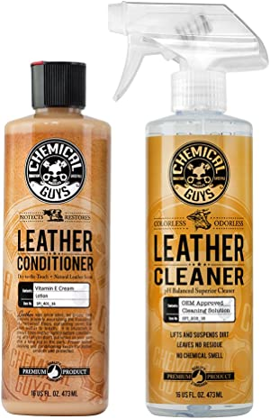 Chemical Guys Leather Cleaner and Conditioner Complete Leather Care Kit (16 Oz) (2 Items)