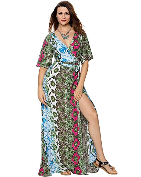 9bcc8fa76c5 Aofur Womens Vintage Indian Printing Short Sleeve V Neck Maxi Long Summer  Casual Party Dress at Amazon Women s Clothing store