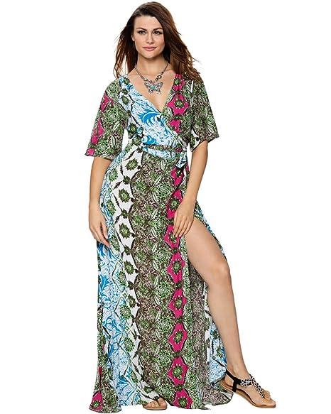 Aofur Plus Size Women Bohemia Summer Beach Dress Ladies Sleeveless Evening  Party Long Maxi Dress ( 010173a8c83f