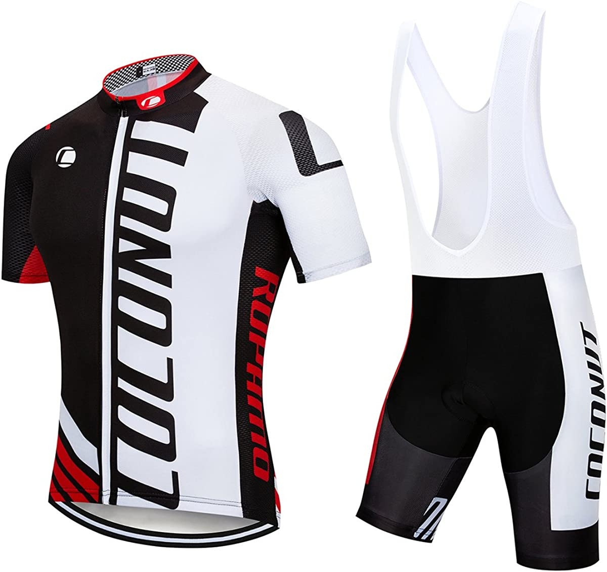 Men's Cycling Jersey Short Sleeve Full Zip Bike Clothing Set Quick-Dry Bib Shorts with 3D Gel Padded: Clothing