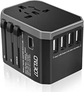 LOETAD Travel Adapter International Power Adapter Universal Travel Plug Adapter Worldwide Use 4 USB 1 Type C Total 5.6A 200+ Countries Available for AU US EU UK with Double Fuse