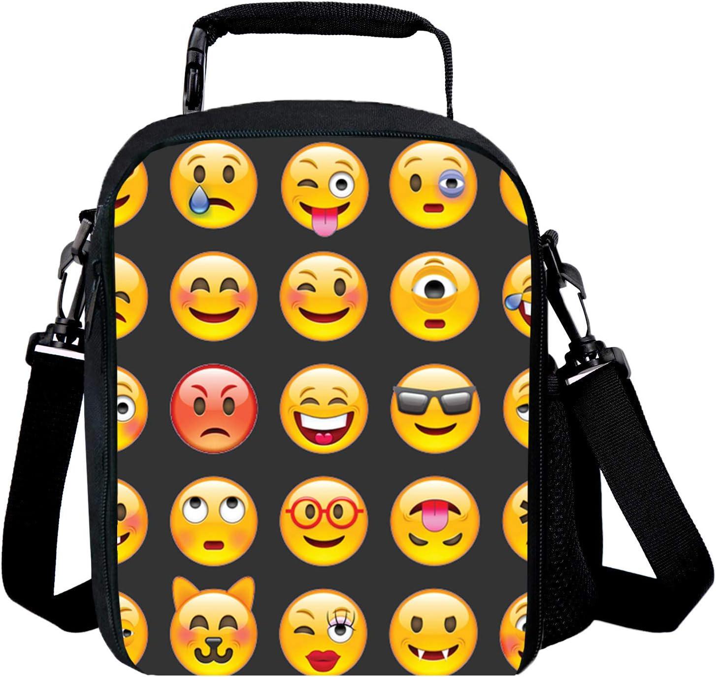 Kid Travel picnic borsa termica borsa porta pranzo per bambini e bambine 3D stampa Emoji Blue