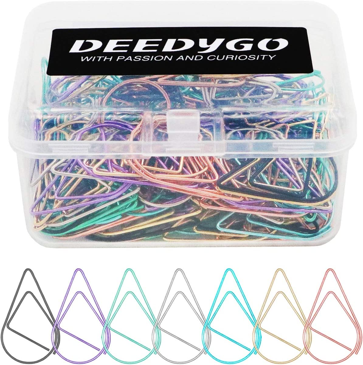 150 Pieces Multicolor Medium Paper Clips, DEEDYGO Smooth Stainless Steel Drop-Shaped Paper Clips for Office Supplies Wedding Women Girls Kids Students (1.3 inch / 33 mm)
