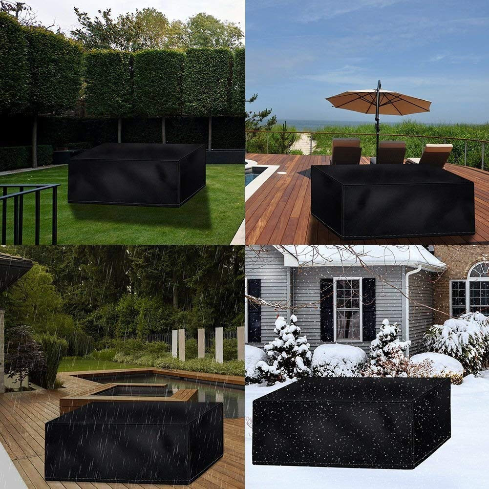 Tarpaulin Cover Protective Cover Garden Table Garden Cover for Rectangular Outdoor Square Cabinet 210D Oxford Black 113 x 113 x 73cm