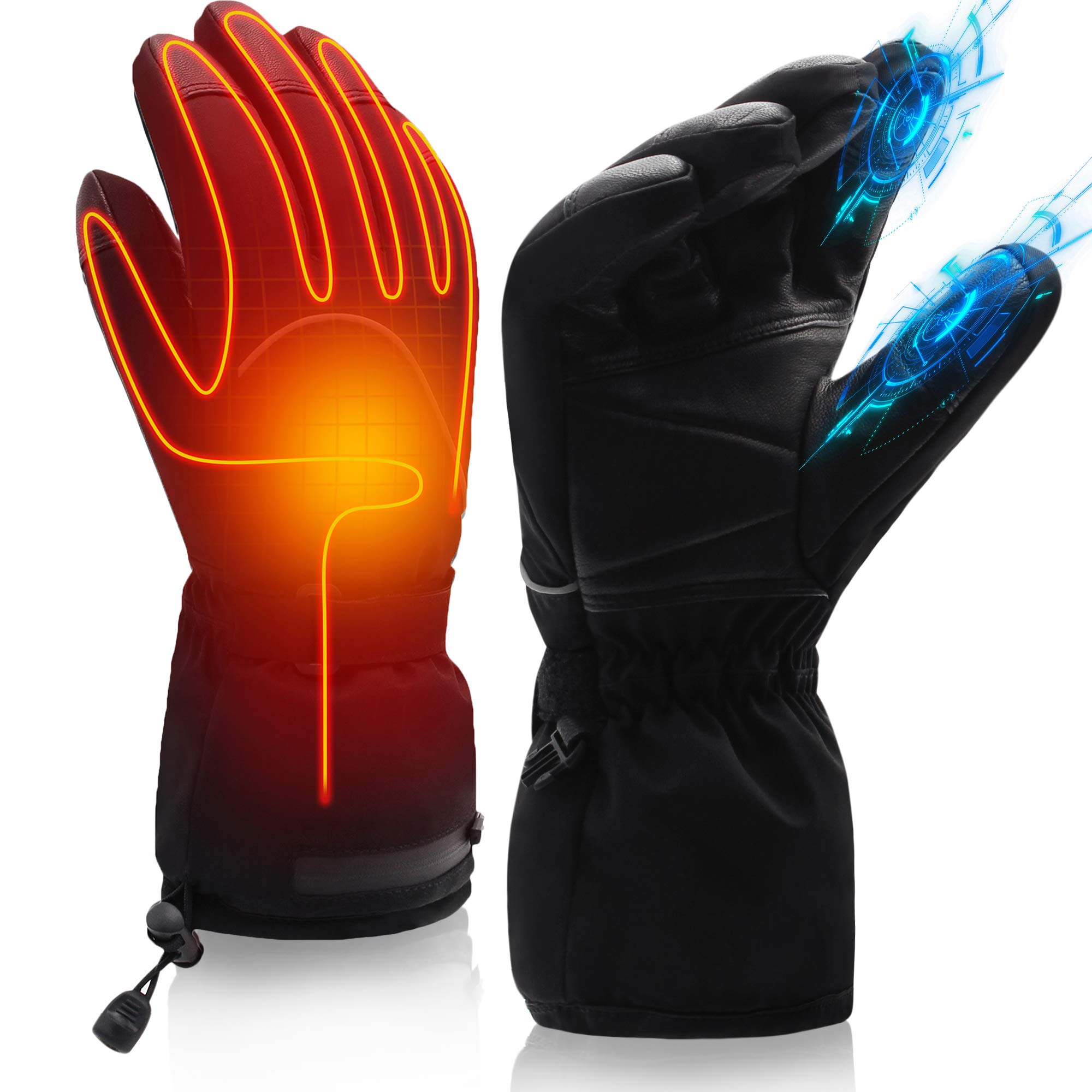 SVPRO Heated Gloves Men Women Electric Rechargeable Battery Heating Gloves Mitten Warm Winter Hunt Fish Cycle Motorcycle Drive Camp Ski Hike Motorcycle Thermal Hand Warmer (19New 7.4V Gloves-XL) by SVPRO