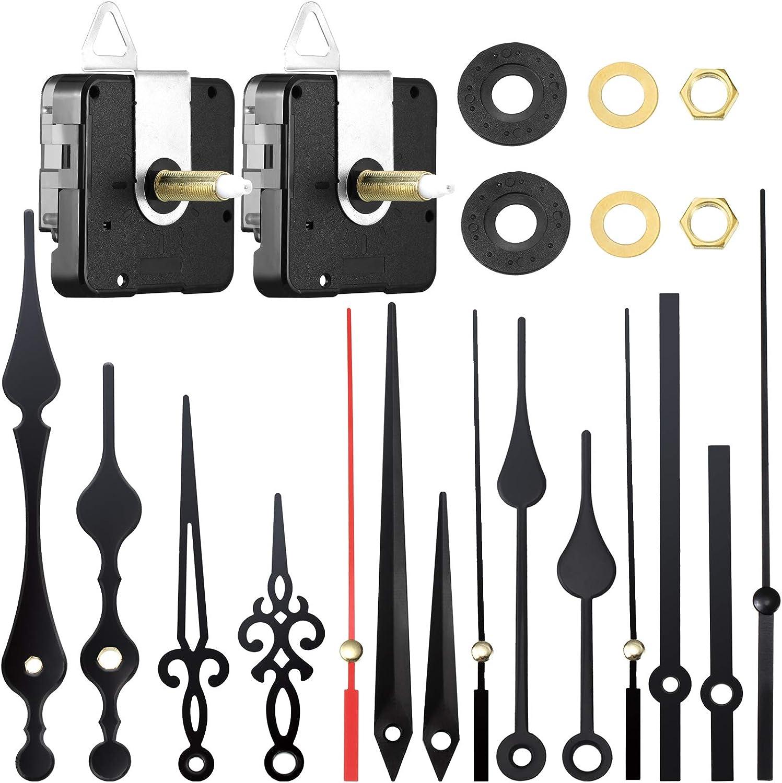 Mudder 2 Piezas Mecanismo de Movimiento de Reloj de Eje Largo y Alto Torque con 5 Diferentes Pares de Manecillas para DIY Reparación de Reloj Reemplazo de Piezas (, 28 mm/ 1,1 Pulgadas)