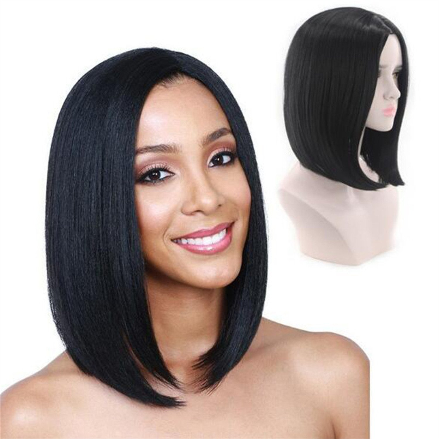 Mufly Bob Wig Short Human Hair Wigs For Black Women Silky Straight Lace Front Wigs Full Lace Wigs with Baby Hair Brazilian Heat Resistant Replacement Virgin Hair 14''