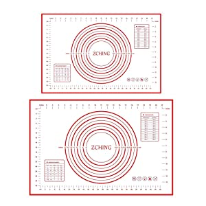 """ZCHING Silicone Baking Mats Set of 2,Large 24"""" x 16"""" Small 16"""" x 12"""",Silicone Pastry Mat with Measurement Not-Slip Rolling Dough Mats for Baking(Red)"""