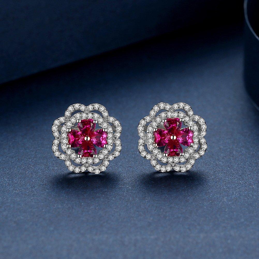 GUIJI Classical Flower Stud Earring Ruby Gemstone 925 Sterling Silver Earring