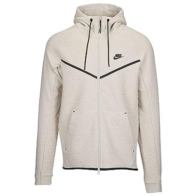 b1d26b836978 Nike Mens Tech Fleece Icon Textured Full Zip Windrunner Jacket Light  Bone Black 929121-