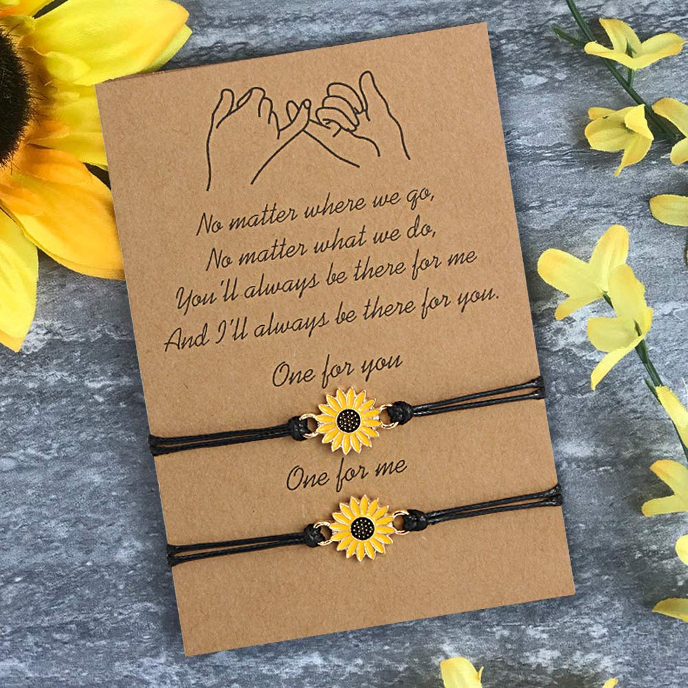 Me/&Hz Pinky Promise Sunflower Flower Girl Matching Couple Friendship Wish Bracelets for Women Girls Mother Daughter Best Friend Adjustable Leather Cord Set of 2