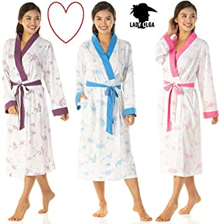 b3a76cc1c981 Ladies Floral Jersey Dressing Gown Robes Nightwear Kimono Wraps Blue Pink Purple  Plus Size 8 10 12 14 16 18 20 22…