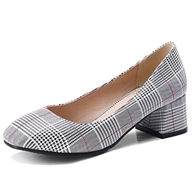 83f5587fa3b Image Unavailable. Image not available for. Color  KingRover Women s Elegant  Square Toe Low Block Heel Work Shoes ...