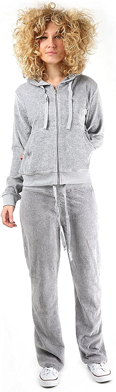 janisramone Womens Ladies New Velvet Velour Hooded Jogging Zip Up Top Bottoms 2Pcs Set Lounge Wear Tracksuit Jogset