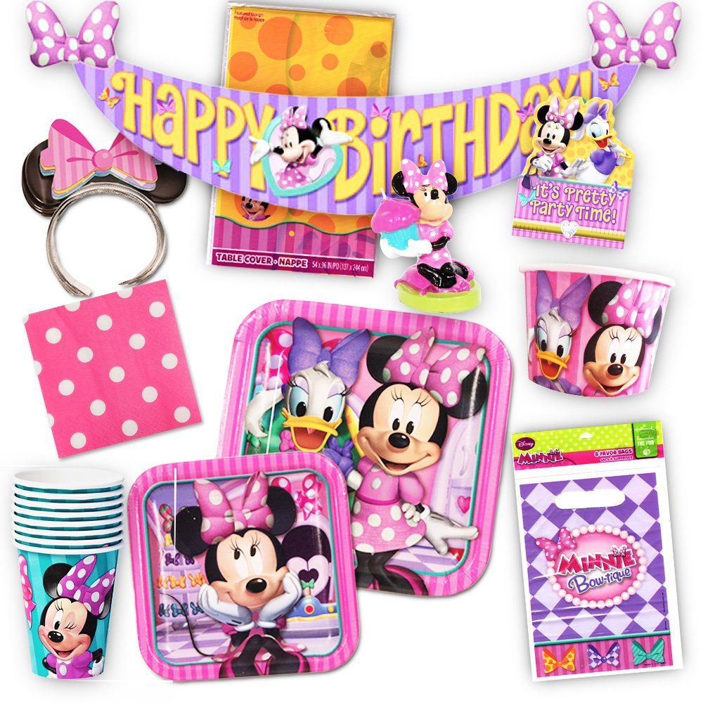 Disney Minnie Mouse Party Supplies Ultimate Set 108 Pieces Favors Birthday Decorations Plates Cups Napkins Ears And More