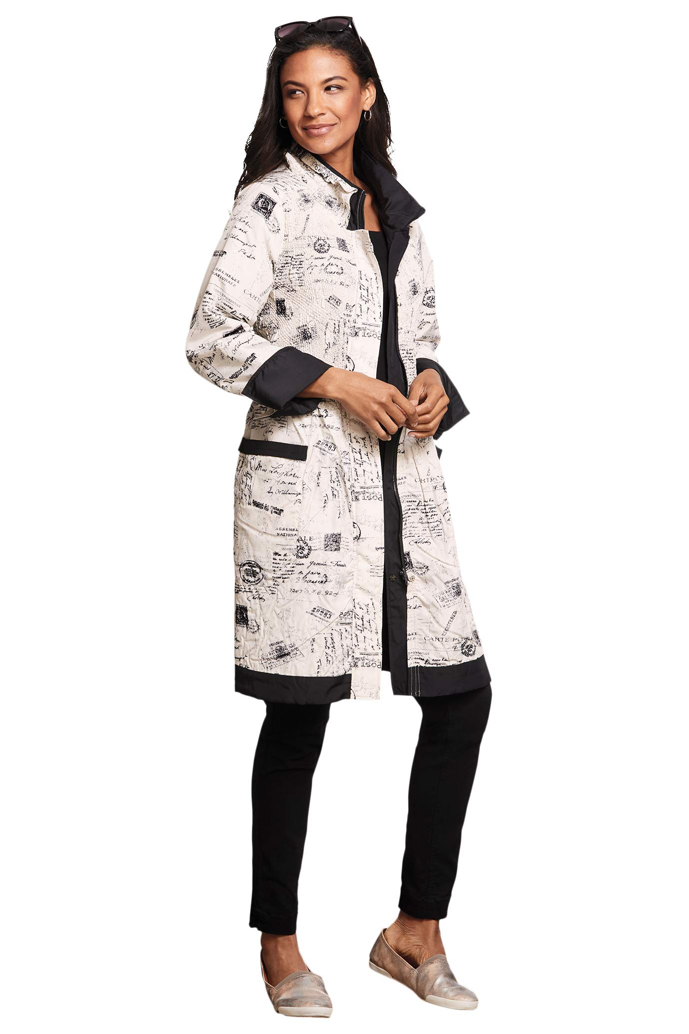 TravelSmith Postcard Print Coat