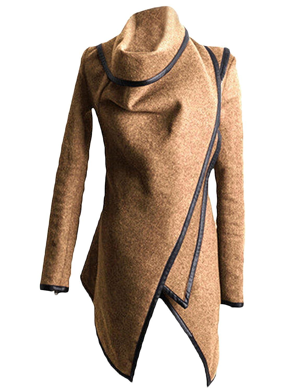 Azbro Mujer Abrigo Trenca de Solapa Asimetrica Mangas con Cremallera, Caqui XXL: Amazon.es: Ropa y accesorios