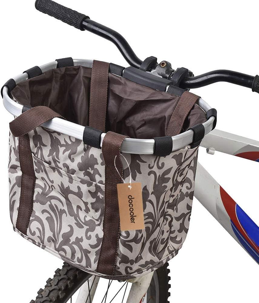 Docooler Bolsa de transporte de mascotas desmontable de lona delantera para soporte de mascotas con marco de aleación de aluminio para bicicleta café