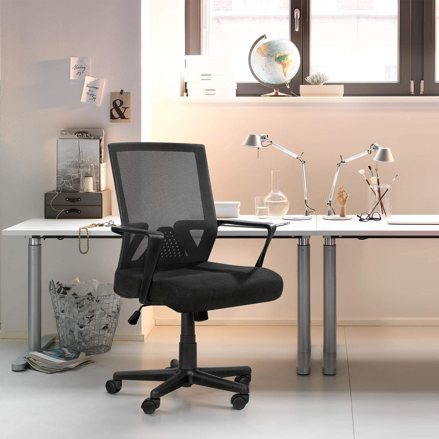 Office Chair Ergonomic Lumbar Support Desk Mesh Computer Chair Mid Back Swivel Chair With Armrest Office Products Office Furniture Accessories