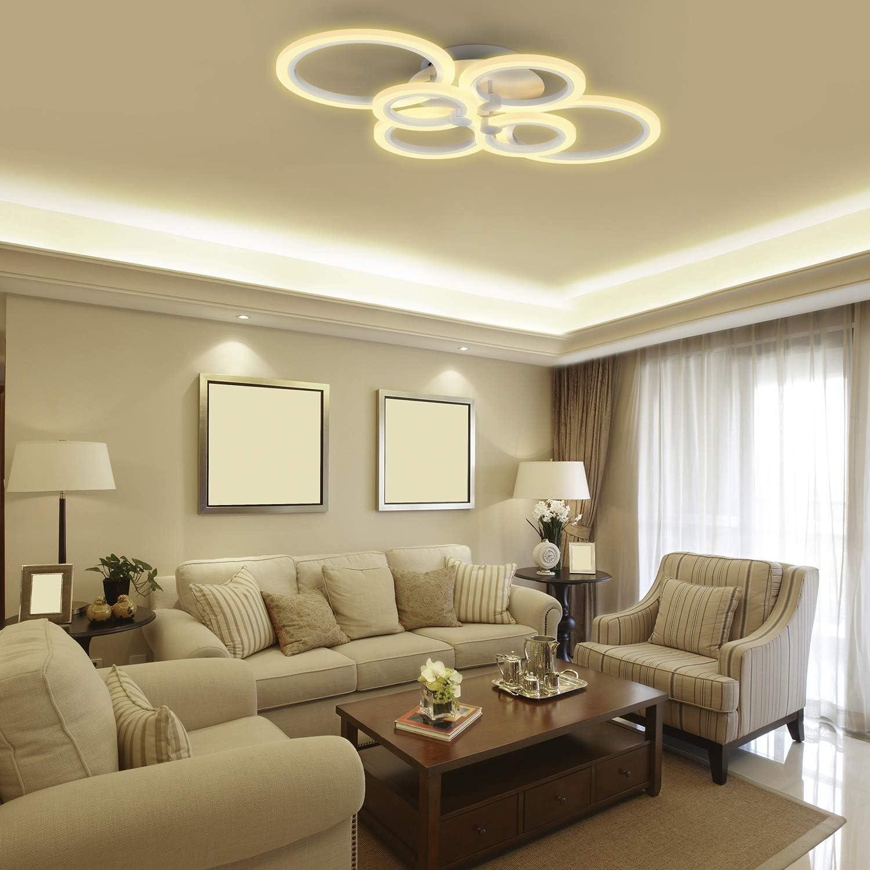 Dise/ño 6 Anillos Luz de Techo 40W 3000LM Temperaturas Regulable 3000-6500K para Sal/ón Comedor Anten Moderna L/ámpara de Techo LED Regulable Dormitorio