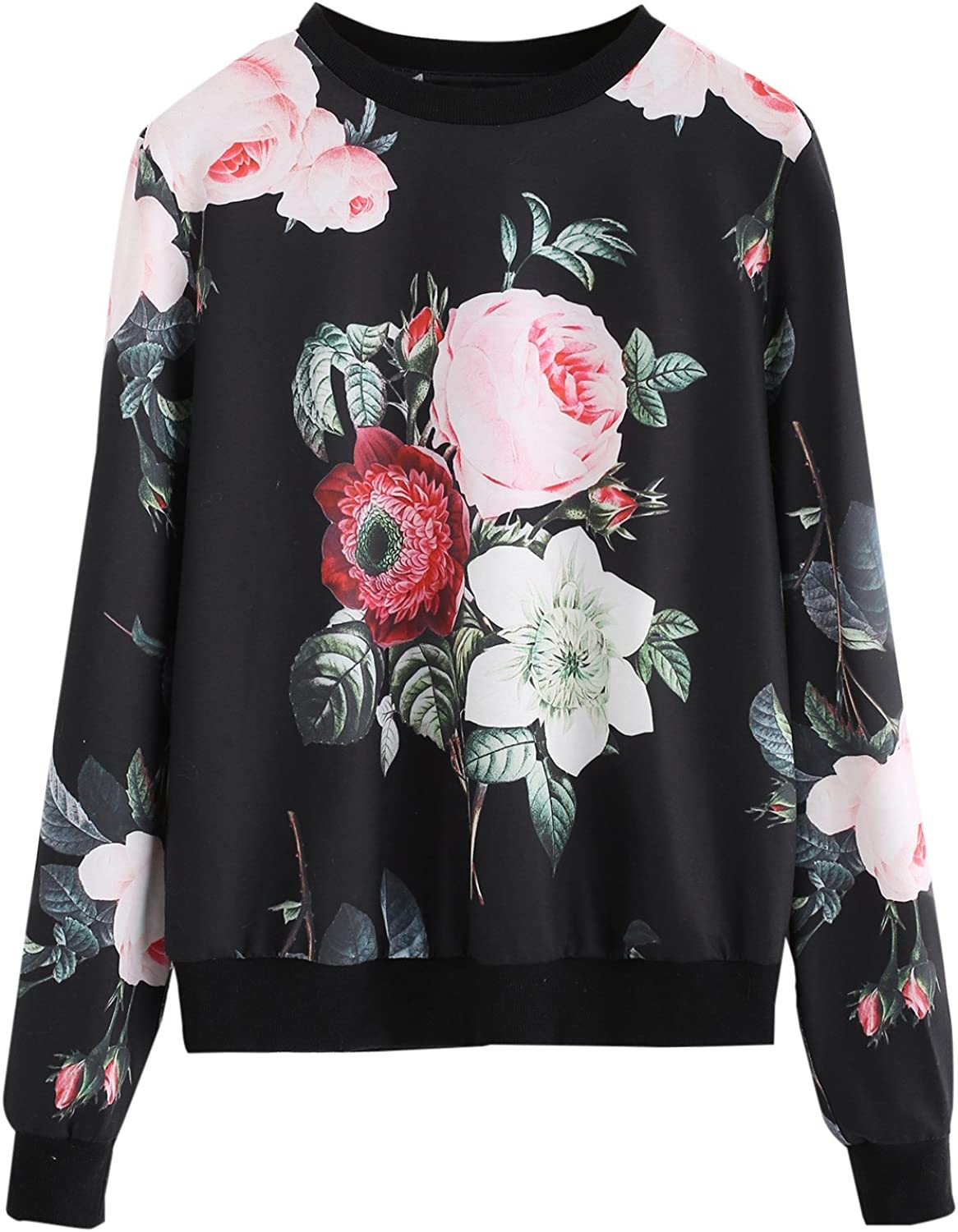 ROMWE Women's Casual Floral Print Long Sleeve Pullover Tops Lightweight Sweatshirt