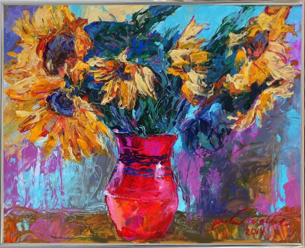 ひまわり赤で花瓶byリチャードWallich 4.71