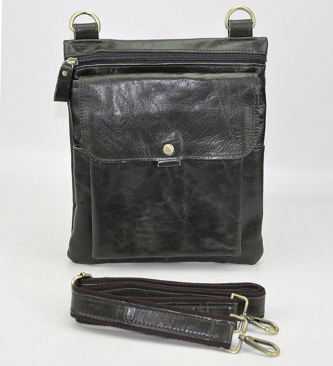 Leaokuu Men Leather Multifunction Fashion Casual Style Sling Messenger Shoulder Bag Designer Waist Belt Pouch Pack