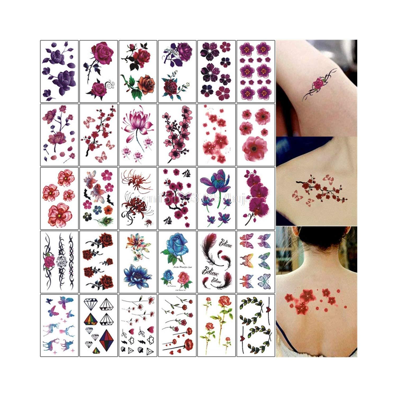Amazon Com 30pcs Halloween Christma Style Fake Tattoo Henna 3d