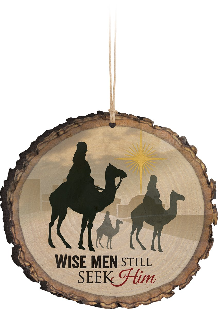 Wise Men Still Seek Him Three Kings Wood Tree Bark 4 inch Christmas Tree Ornament by P Graham Dunn