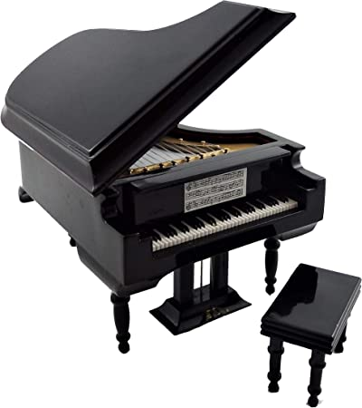 Dolls House BLACK BABY Grand Piano /& Bench Music Room Furniture