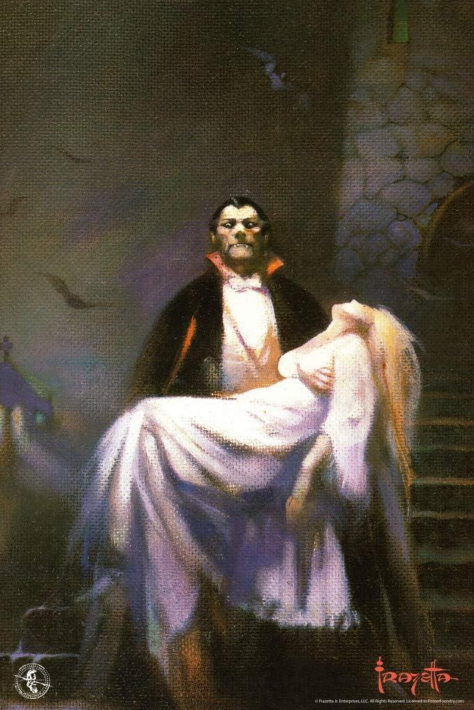 Frank Frazetta Draculas Bride Horror Fantasy Artwork Vampire Monster Classic Retro Vintage Movie Spooky Scary Halloween Decorations Cool Wall Decor Art Print Poster 12x18