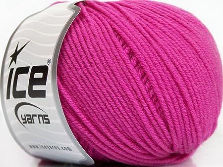 Lot de 4 madejas hilo hilos Merino extrafina superwash de hielo (100% extrafina superwash lana de merino), color rosa