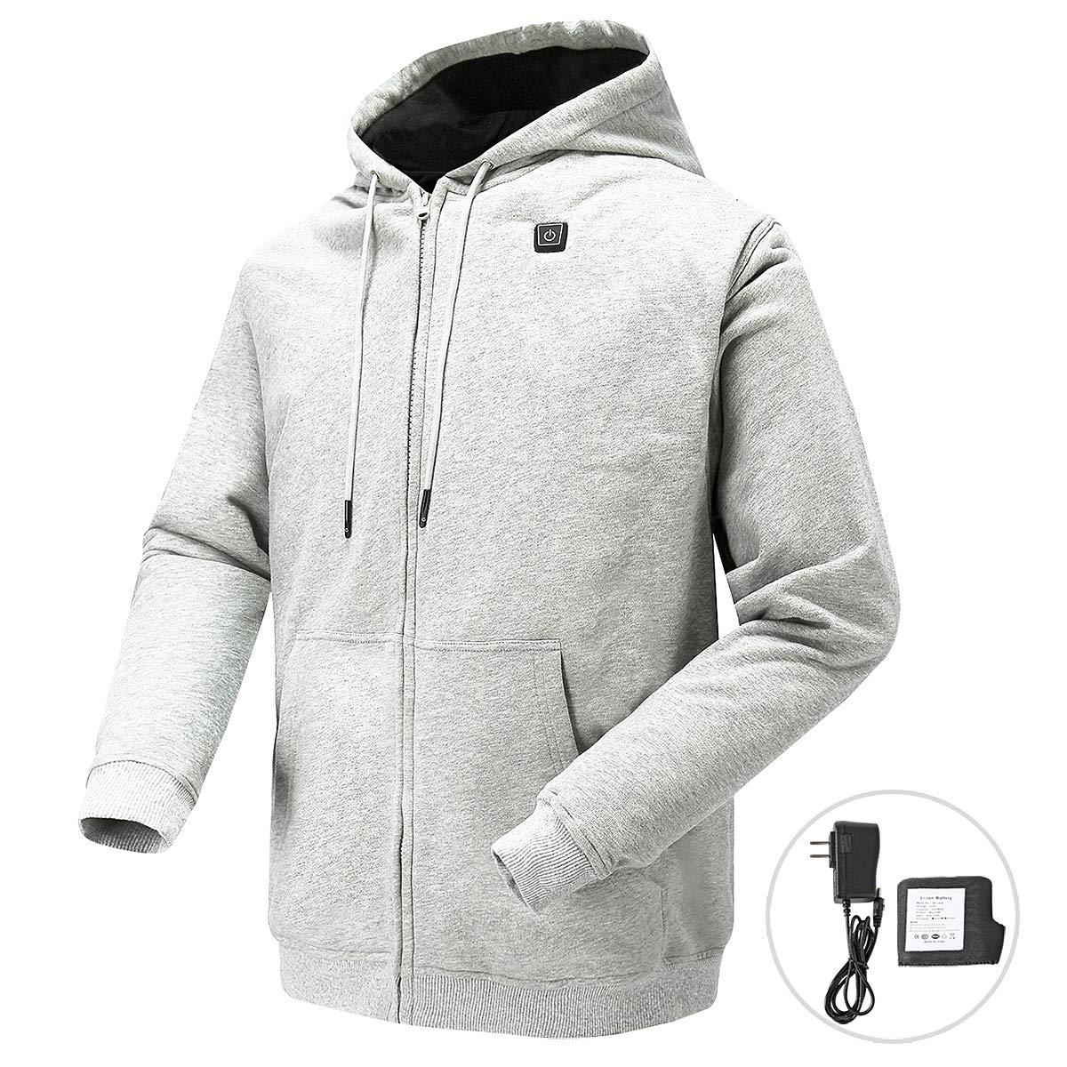 N NIFVAN Heated Hoodie with 7.4V Battery Pack for Men Women Full-Zip Fleece Hooded Sweatshirt