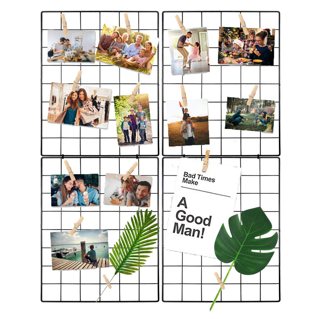 Halvalo Wall Grid Panel Wire Grid Board, Wall Photo Picture Display Frames Wall Grid Display Decor Mesh Memo Board Organizer (2 Pack)