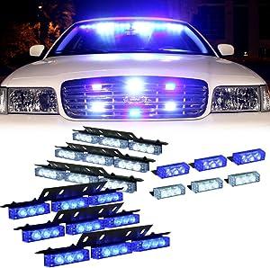 Blue White 54X LED Flashing Dash Visor Emergency Warning Light for Volunteer Firefighter Vehicles - Interior Strobe Lights For Grille Deck Vehicles