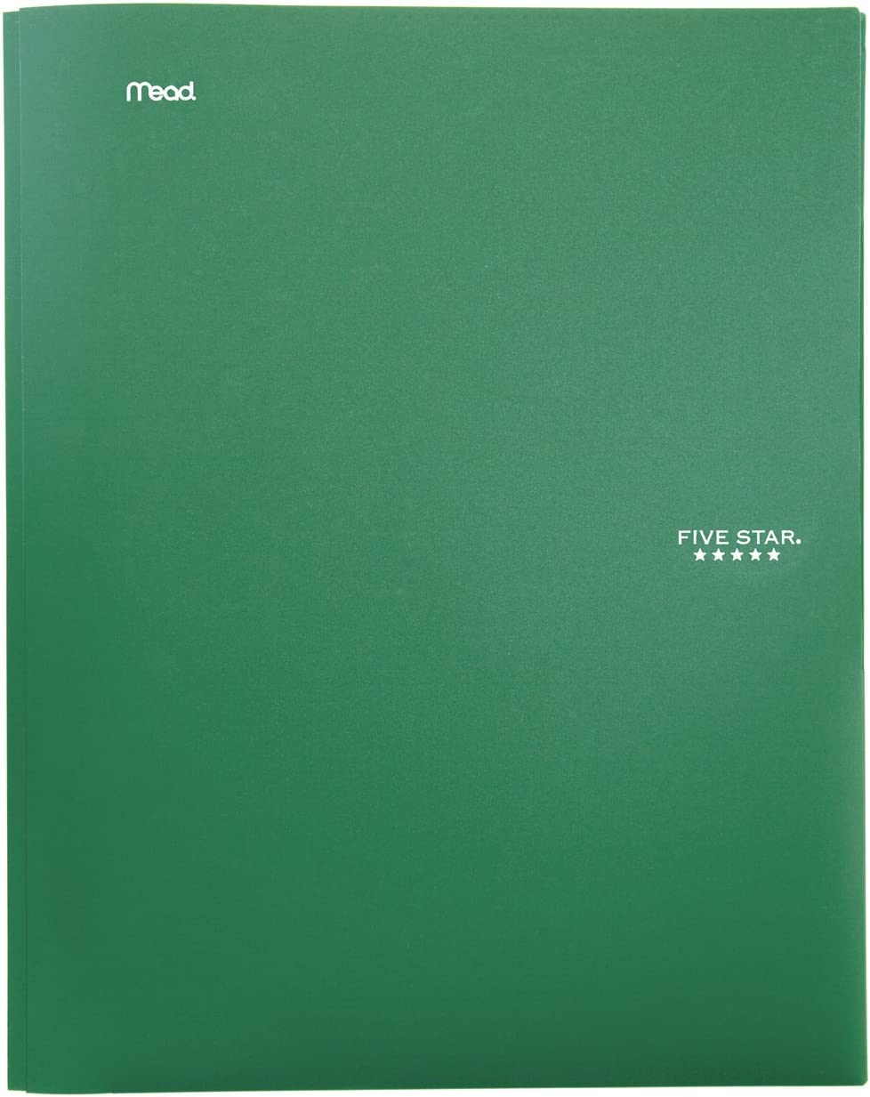 "Five Star 2-Pocket Folder, Stay-Put Folder, Plastic Colored Folders with Pockets & Prong Fasteners for 3-Ring Binders, For Home School Supplies & Home Office, 11"" x 8-1/2"", Green (72111)"