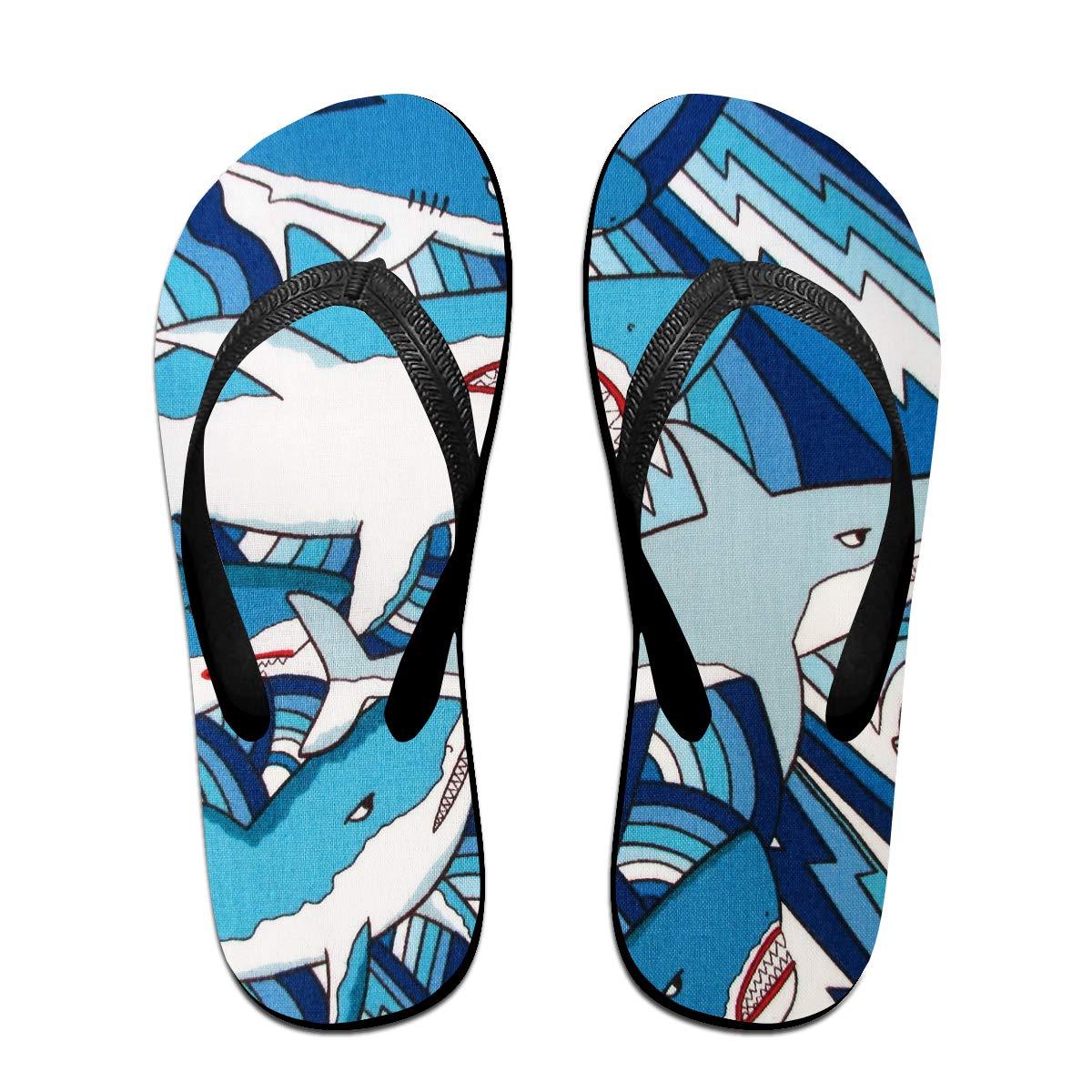 Couple Slipper Shark Playing Print Flip Flops Unisex Chic Sandals Rubber Non-Slip Beach Thong Slippers