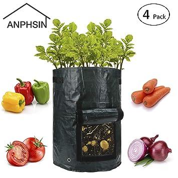 Amazon.com: anphsin paquete de 4 10 galones jardín bolsas de ...